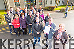 Christy McDonnell, Sean Brosnan, Mary O'Neil McDonnell and the  Cahersiveen Greenway Protest Group outside the County Building on Monday