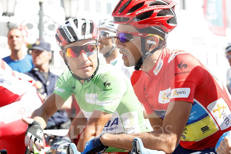Alberto Contador (r) and Joaquin Purito Rodriguez before the stage of La Vuelta 2012 beetwen Aguilar de Campoo-Valladolid.September 6,2012. (ALTERPHOTOS/Paola Otero)