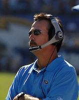 Sept. 17, 2006; San Diego, CA, USA; Tennessee Titans head coach Jeff Fisher against the San Diego Chargers at Qualcomm Stadium in San Diego, CA. Mandatory Credit: Mark J. Rebilas