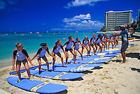 Vacationing high school girls learn the skills of surfing on Waikiki Beach