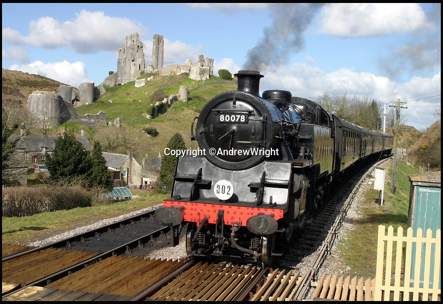 BNPS.co.uk (01202 558833)<br /> Pic: AndrewWright/BNPS<br /> <br /> Steam train near Corfe Castle station on the restored line.<br /> <br /> A public train service is to run on a railway line ripped up in the 'Beeching Axe' thanks to an army of volunteers who have spent 45 years painstakingly rebuilding it. 