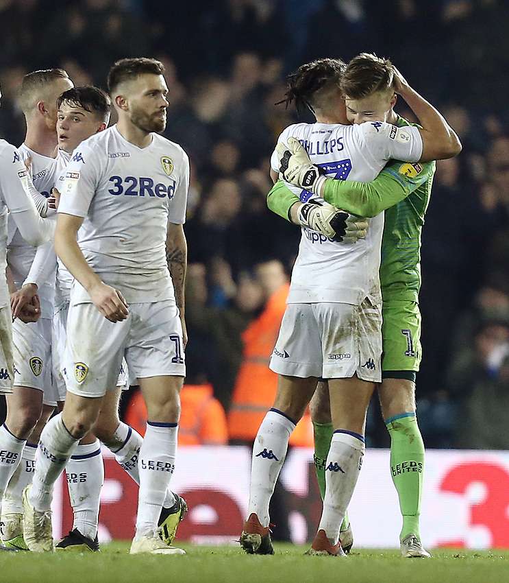 Leeds United's Kalvin Phillips (left) and Bailey Peacock-Farrell congratulate each other at the final whistle<br /> <br /> Photographer Rich Linley/CameraSport<br /> <br /> The EFL Sky Bet Championship - Leeds United v Reading - Tuesday 27th November 2018 - Elland Road - Leeds<br /> <br /> World Copyright © 2018 CameraSport. All rights reserved. 43 Linden Ave. Countesthorpe. Leicester. England. LE8 5PG - Tel: +44 (0) 116 277 4147 - admin@camerasport.com - www.camerasport.com