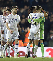 Leeds United's Kalvin Phillips (left) and Bailey Peacock-Farrell congratulate each other at the final whistle<br /> <br /> Photographer Rich Linley/CameraSport<br /> <br /> The EFL Sky Bet Championship - Leeds United v Reading - Tuesday 27th November 2018 - Elland Road - Leeds<br /> <br /> World Copyright &copy; 2018 CameraSport. All rights reserved. 43 Linden Ave. Countesthorpe. Leicester. England. LE8 5PG - Tel: +44 (0) 116 277 4147 - admin@camerasport.com - www.camerasport.com