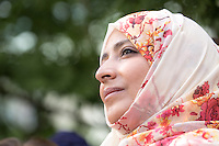 NEW YORK CITY, UNITED STATES SEPTEMBER 16, 2016: Novel Peace Price Tawakkul Karman during the Peace Bell Ceremony to commemorate the International Day of Peace at the United Nations in New York. Photo by VIEWpress/Maite H. Mateo