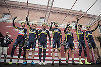 Team Orica-Scott pre-race team presentation<br /> <br /> 11th Strade Bianche 2017