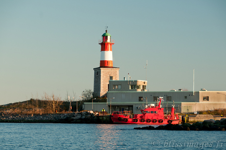 Close up of Pilot Station and Harmaja Lighthouse in the Gulf of Finland a few miles south of Helsinki.