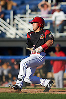 Batavia Muckdogs first baseman Joseph Chavez (22) breaks his bat during a game against the State College Spikes on June 23, 2016 at Dwyer Stadium in Batavia, New York.  State College defeated Batavia 8-4.  (Mike Janes/Four Seam Images)