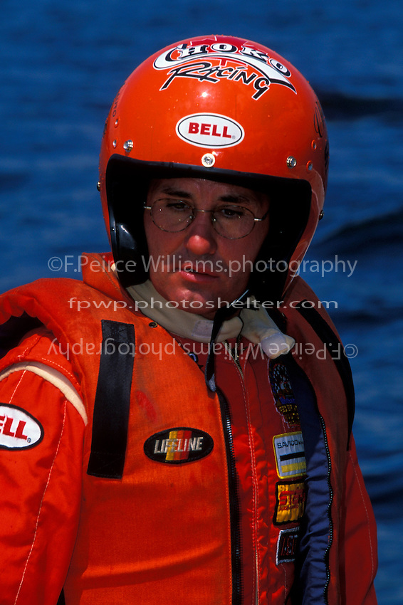 Jacques Villeneuve (brother of Gilles) tries his hand at inboard hydroplane racing at Valleyfield, QE Canada in 1999. CE-2  (5 Litre class hydroplane(s)