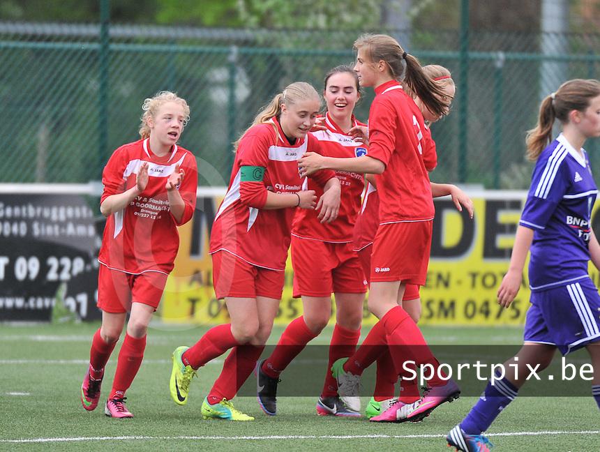 AA Gent Ladies U16 - RSC Anderlecht : vreugde bij Gent na de gelijkmaker.foto DAVID CATRY / Nikonpro.be