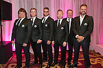 The Ireland team Shane Byrne, Brian Ormond, Keith Duffy, Ronan Keating, Ronnie Whelan and Brian McFadden at the gala dinner.<br /> The Celebrity Cup 2015<br /> Celtic Manor Resort<br /> <br /> 04.07.15<br /> &copy;Steve Pope - SPORTINGWALES