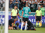 22.08.2019 Legia Warsaw v Rangers: Sheyi Ojo injured