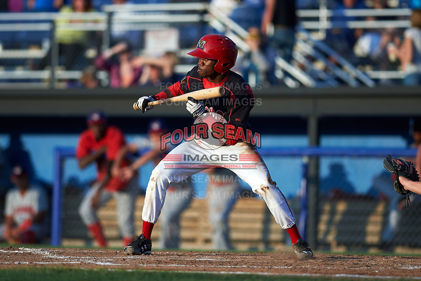 Batavia Muckdogs shorstop Anfernee Seymour (3) squares to bunt during a game against the Auburn Doubledays July 10, 2015 at Dwyer Stadium in Batavia, New York.  Auburn defeated Batavia 13-1.  (Mike Janes/Four Seam Images)