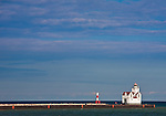 Kewaunee County, WI  <br /> Kewaunee Pierhead Lighthouse at the mouth of the Kewaunee river, Lake Michigan