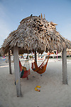 hammocks hanging under a thatched palapa at Ramon's Village Resort in San Pedro, Ambergris Caye, Belize