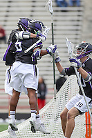 College Park, MD - February 18, 2017: High Point Panthers players celebrate after a goal during game between High Point and Maryland at  Capital One Field at Maryland Stadium in College Park, MD.  (Photo by Elliott Brown/Media Images International)