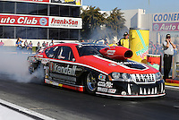 Feb. 14, 2013; Pomona, CA, USA; NHRA pro stock driver V. Gaines during qualifying for the Winternationals at Auto Club Raceway at Pomona.. Mandatory Credit: Mark J. Rebilas-