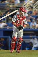 Clearwater Threshers catcher Andrew Knapp (5) during a game against the Dunedin Blue Jays on April 10, 2015 at Florida Auto Exchange Stadium in Dunedin, Florida.  Clearwater defeated Dunedin 2-0.  (Mike Janes/Four Seam Images)