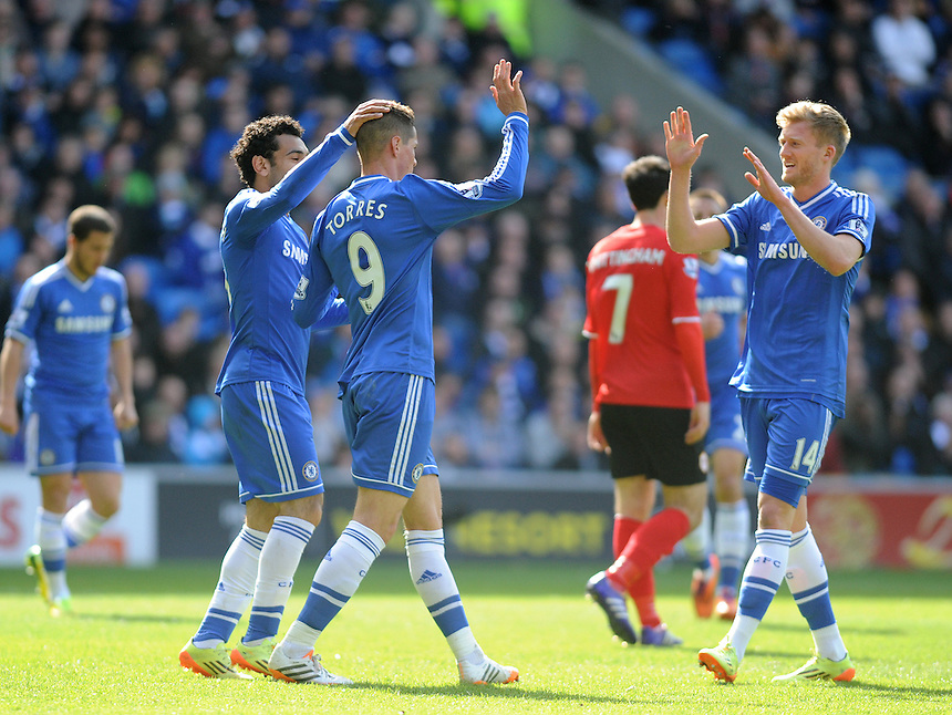 Chelsea's Fernando Torres celebrates scoring his sides second goal <br /> <br /> Photographer Ashley Crowden/CameraSport<br /> <br /> Football - Barclays Premiership - Cardiff City v Chelsea - Sunday 11th May 2014 - Cardifff City Stadium - Cardiff<br /> <br /> &copy; CameraSport - 43 Linden Ave. Countesthorpe. Leicester. England. LE8 5PG - Tel: +44 (0) 116 277 4147 - admin@camerasport.com - www.camerasport.com