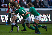 16th March 2018, Ricoh Arena, Coventry, England; Womens Six Nations Rugby, England Women versus Ireland Women; Lagi Tuima of England is tackled by Katie Fitzhenry of Ireland