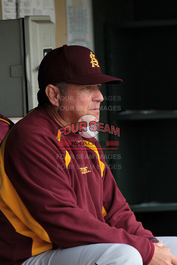 Arizona State Sun Devils Head Coach Tim Esmay #10 during a game against the UCLA Bruins at Jackie Robinson Stadium on March 16, 2012 in Los Angeles,California. UCLA defeated Arizona State 6-5.(Larry Goren/Four Seam Images)