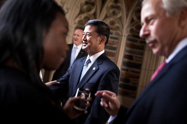 October 23, 2009. Durham, North Carolina.. Eric Shinseki, Secretary of Veterans Affairs for the Obama administration, visited Durham to meet with officials and veterans at the VA hospital, as well as to attend several events and meetings on the Duke University campus.. Sec. Shinseki, center, met with attendees after delivering a speech at Duke University at the dedication of a updated memorial to alumni killed in combat. The names of alumni killed in Iraq and Afghanistan were added on a new plaque.