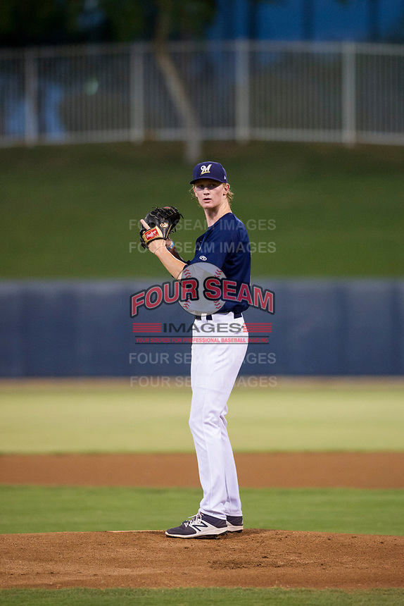 AZL Brewers Caden Lemons (18) prepares to deliver a pitch to the plate against the AZL Cubs at Maryvale Baseball Park in Phoenix, Arizona. AZL Cubs defeated the AZL Brewers 9-1. (Zachary Lucy/Four Seam Images)
