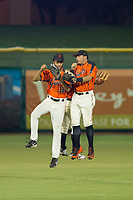 AZL Giants outfielders Aaron Bond (38), Ismael Munguia (29), and Diego Rincones (35) celebrate after a victory against the AZL Reds on August 12, 2017 at Scottsdale Stadium in Scottsdale, Arizona. AZL Giants defeated the AZL Reds 1-0. (Zachary Lucy/Four Seam Images)
