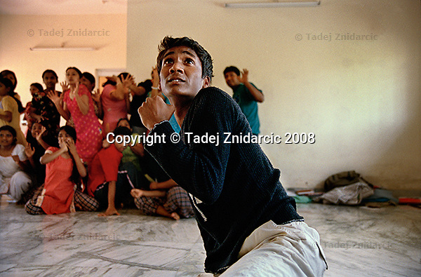 Anil, a trainee of Kolkata Sanved, during a human emotions exercise at the regional dance movement therapy workshop. Kolkata, India.