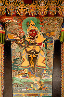 Art in the architecture of a Buddhist  Monastery, Sikkim, India
