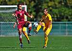 18 September 2011: University of Vermont Catamount Defenvder/Midfielder Seth Rebeor, a Junior from Fairfax, VT, works against Harvard University Crimson Forward Michael Innocenzi, a Freshman from Franklin Lakes, NJ, at Centennial Field in Burlington, Vermont. The Catamounts shut out the visiting Crimson 1-0, earning their 3rd straight victory of the 2011 season. Mandatory Credit: Ed Wolfstein Photo