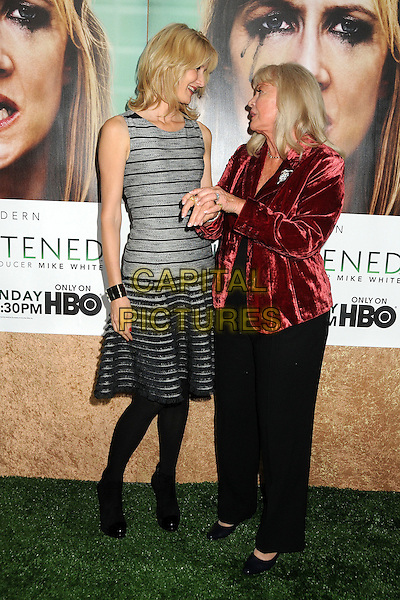 "Laura Dern and Diane Ladd.HBO's ""Enlightened"" Los Angeles Premiere held at Paramount Studios, Los Angeles, California, USA. .October 6th, 2011.full length black tights grey gray sleeveless dress striped stripes trousers red velvet jacket side profile holding hands.CAP/ADM/BP.©Byron Purvis/AdMedia/Capital Pictures."