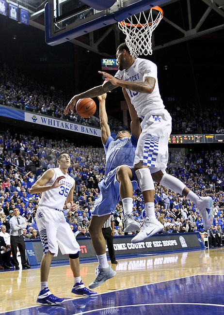 Kentucky center Willie Cauley-Stein blocks Columbia guard Maodo Lo during the second half of the UK men's basketball game vs. Columbia at Rupp Arena in Lexington , Ky., on Wednesday, December 10, 2014. Photo by Jonathan Krueger | Staff