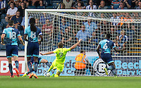 Chris Porter of Colchester United scores to Colchester United the lead during the Sky Bet League 2 match between Wycombe Wanderers and Colchester United at Adams Park, High Wycombe, England on 27 August 2016. Photo by Liam McAvoy.