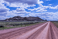 Church Buttes and the Lincoln Highway heading west between Granger and Lyman.