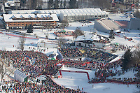 KITZBUHEL AUSTRIA. 23-01-2011.  A general view of the finish area for the slalom race part of  Audi FIS World Cup races in Kitzbuhel Austria.  Mandatory credit: Mitchell Gunn