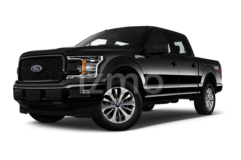 Stock pictures of low aggressive front three quarter view of 2019 Ford F-150 XL-SuperCrew 2 Door Pick-up Low Aggressive