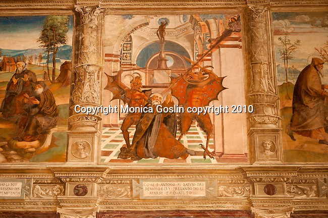 A 15th century fresco of Saint Anthony in the Santa Maria delle Grazie Church in Gravedona, a town on Lake Como Italy
