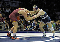STATE COLLEGE, PA - JANUARY 25: Logan Storley of the Minnesota Golden Gophers and Matt Brown of the Penn State Nittany Lions during their match on January 25, 2015 at Recreation Hall on the campus of Penn State University in State College, Pennsylvania. Minnesota won 17-16. (Photo by Hunter Martin/Getty Images) *** Local Caption *** Matt Brown;Logan Storley