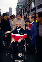 December 12, 1987 File Photo -  Former wrestler Maurice '' Mad Dog'' Vachon during the passage of the Olympic torch in downtown Montreal.<br /> <br /> Vachon died  November 21, 2013.<br /> <br /> PHOTO : Agence Quebec Presse - Pierre Roussel