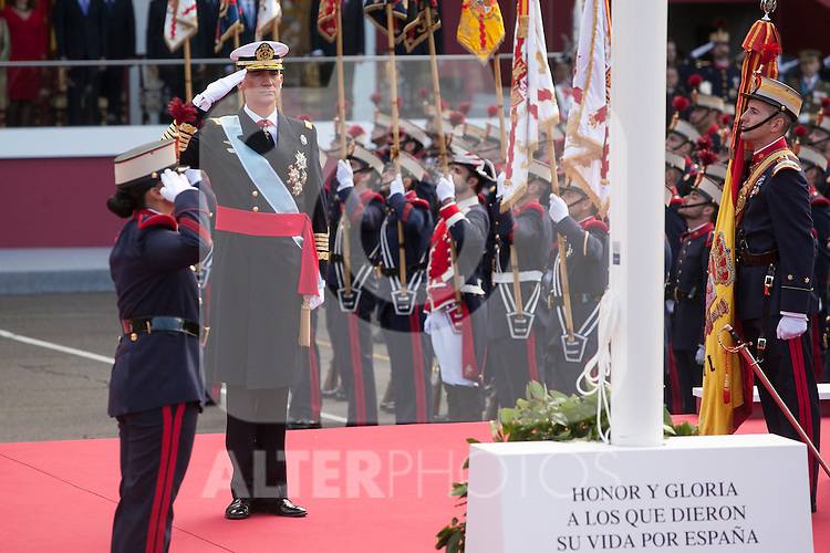 King Felipe VI of Spain during Spanish National Day military parade in Madrid, Spain. October 12, 2015. (ALTERPHOTOS/Victor Blanco)