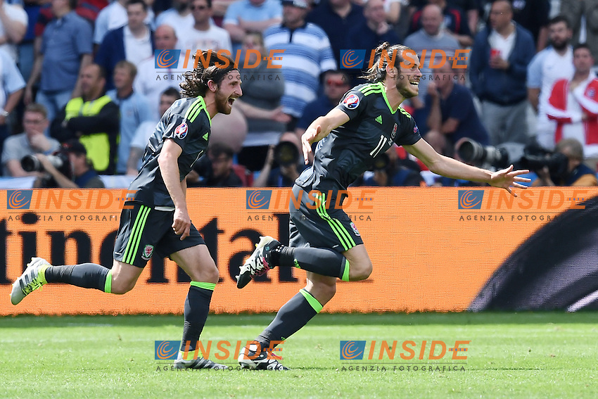 esultanza gol Gareth Bale Wales Celebration Goal <br /> Lens 16-06-2016 Stade Bollaert-Delelis Footballl Euro2016 England - Wales / Inghilterra - Galles Group Stage Group B. Foto Matteo Gribaudi / Image Sport / Insidefoto