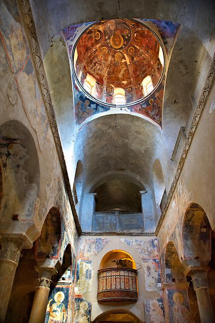 The interior of the Byzantine Metropolis Church , Mystras ,  Sparta, the Peloponnese, Greece. A UNESCO World Heritage Site