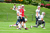 July 27, 2017: New England Patriots quarterback Jacoby Brissett (7) does warm-up activities at the New England Patriots training camp held on the at Gillette Stadium, in Foxborough, Massachusetts. Eric Canha/CSM