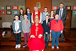 Killury NS Confirmation: Pupils from Killury NS who were confirmed by Bishop Ray Browne in Ballyduff Church on 25th march. Back row (L to R) Ivana Nelan, Caitlin Guerin, Fr. Brendan Walsh, Gearoid Quilter, Roisin Dillon, Padraig Regan (teacher)<br /> Front row (L to R) Sean Delaney, Jason Carmody, Bishop Ray Browne, Taylor Griffin, Keith McElligott