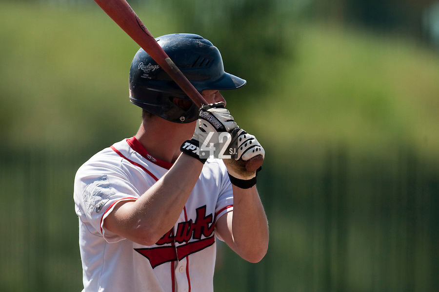 24 May 2009: Anthony Piquet of La Guerche is seen at bat during the 2009 challenge de France, a tournament with the best French baseball teams - all eight elite league clubs - to determine a spot in the European Cup next year, at Montpellier, France. Senart wins 8-5 over La Guerche.
