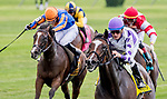 July 6, 2019 : Concrete Rose #4, ridden by Julien Leparoux, wins the Belmont Oaks Invitational during the Stars and Stripes Racing Festival at Belmont Park in Elmont, New York. Scott Serio/Eclipse Sportswire/CSM