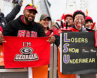 ATLANTA, GA - DECEMBER 7: Georgia fans at ESPN College Game Day during a game between Georgia Bulldogs and LSU Tigers at Mercedes Benz Stadium on December 7, 2019 in Atlanta, Georgia.