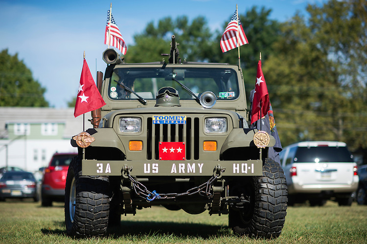 UNITED STATES - SEPTEMBER 23: A military-style Jeep is parked outside a campaign event for Sens. Pat Toomey, R-Pa., at the Herbert W. Best VFW Post 928 in Folsom, Pa., September 23, 2016. Sen. John McCain, R-Ariz., attended in support of Toomey. (Photo By Tom Williams/CQ Roll Call)