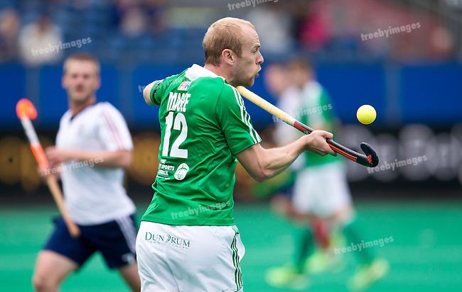 23/06/2015<br /> HWL Semi Final Antwerp Belgium 2015<br /> Ireland v Great Britain Men<br /> Eugene Magee of Ireland in action<br /> Photo: Grant Treeby