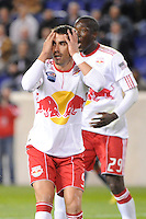 Juan Pablo Angel of the New York Red Bulls reacts to a missed scoring opportunity during a Major League Soccer (MLS) match against the New England Revolution at Red Bull Arena in Harrison, NJ, on October 21, 2010.